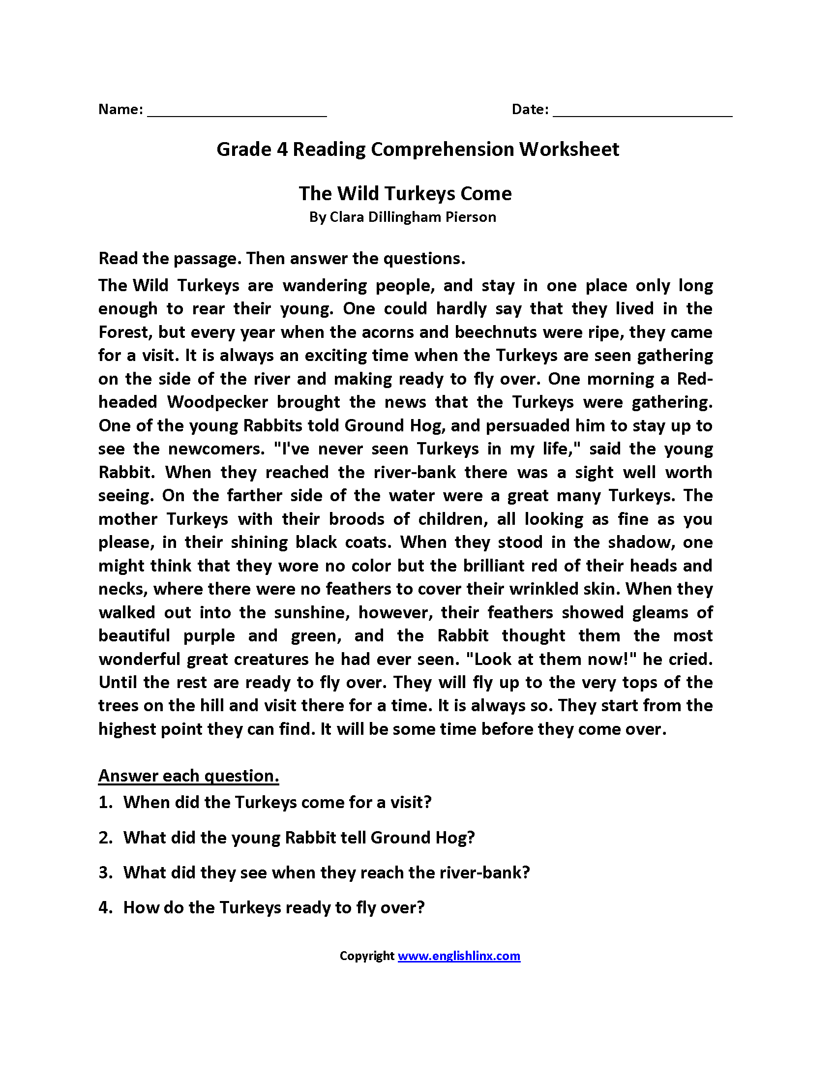 Worksheets Short Comprehension Passages For Grade 4