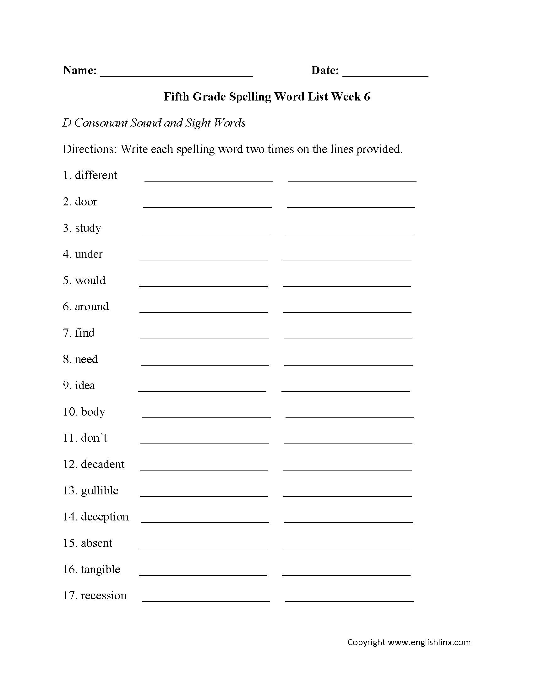 Spelling Words For Grade 6 Worksheet