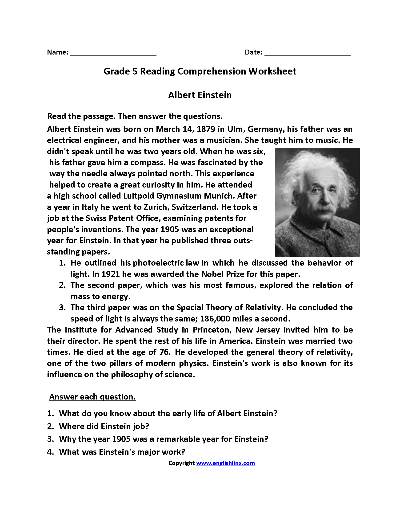 Worksheet For 5th Grade