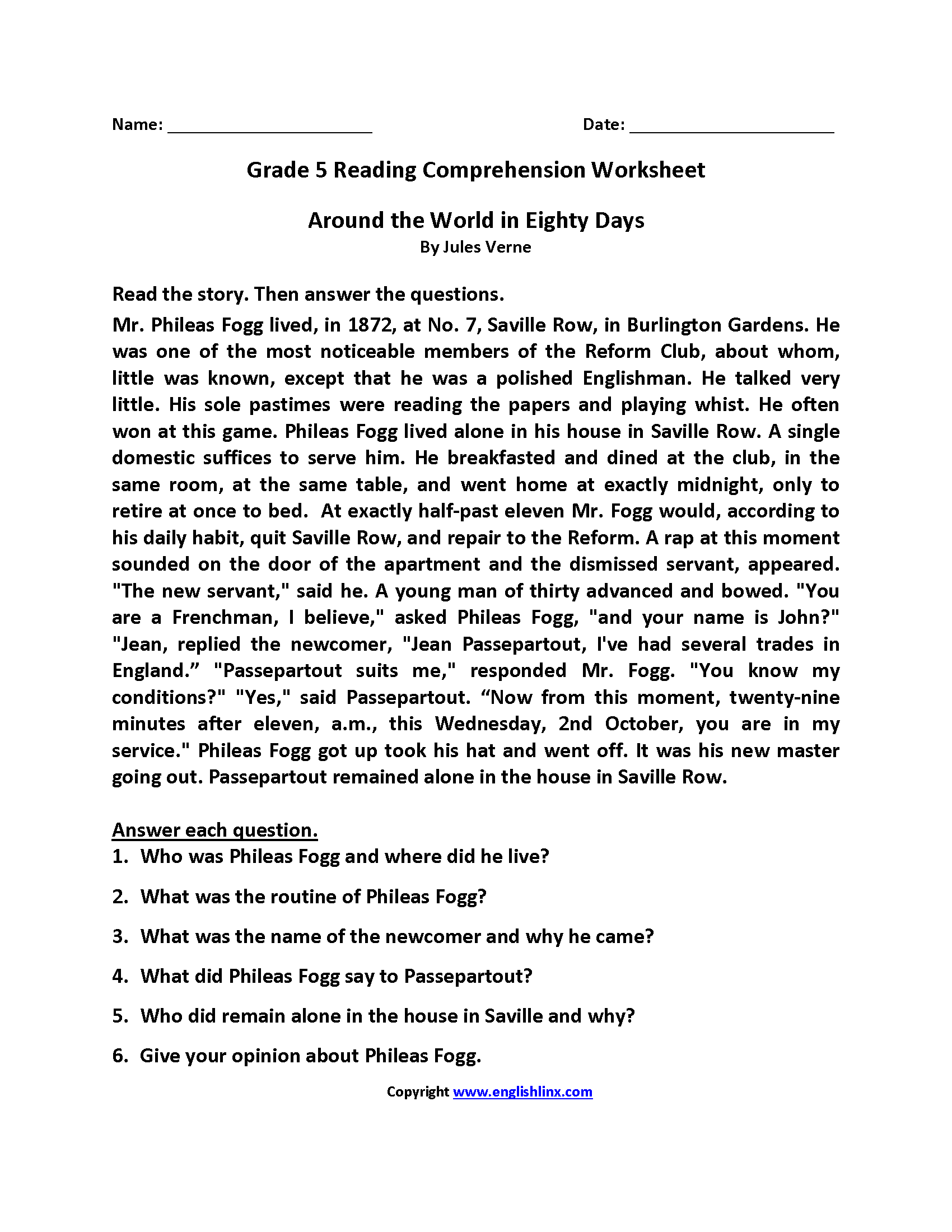 - Comprehension Worksheet For Fifth Grade Printable Worksheets And