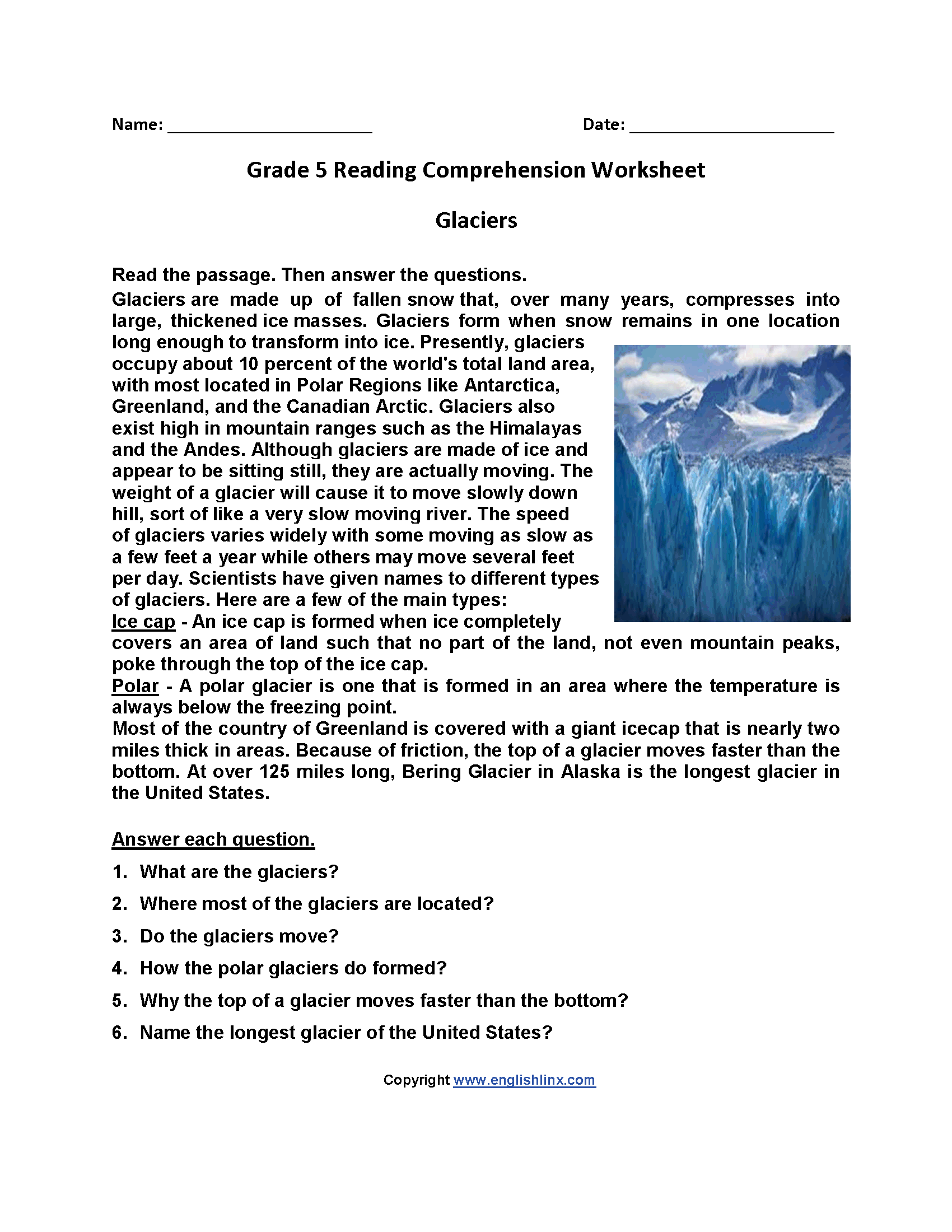 4th Grade Worksheet Glaciers