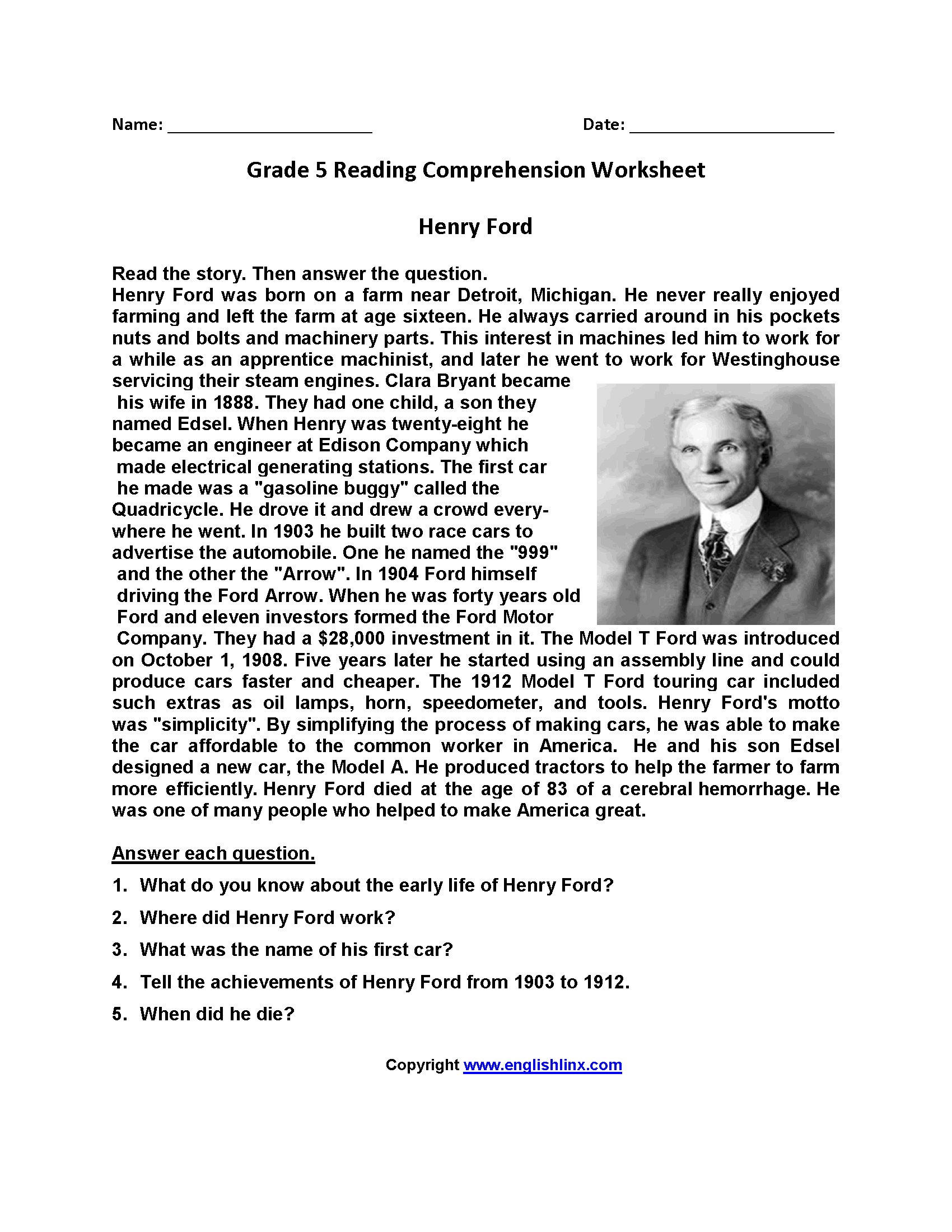 29 5 Ws Reading Comprehension Worksheet