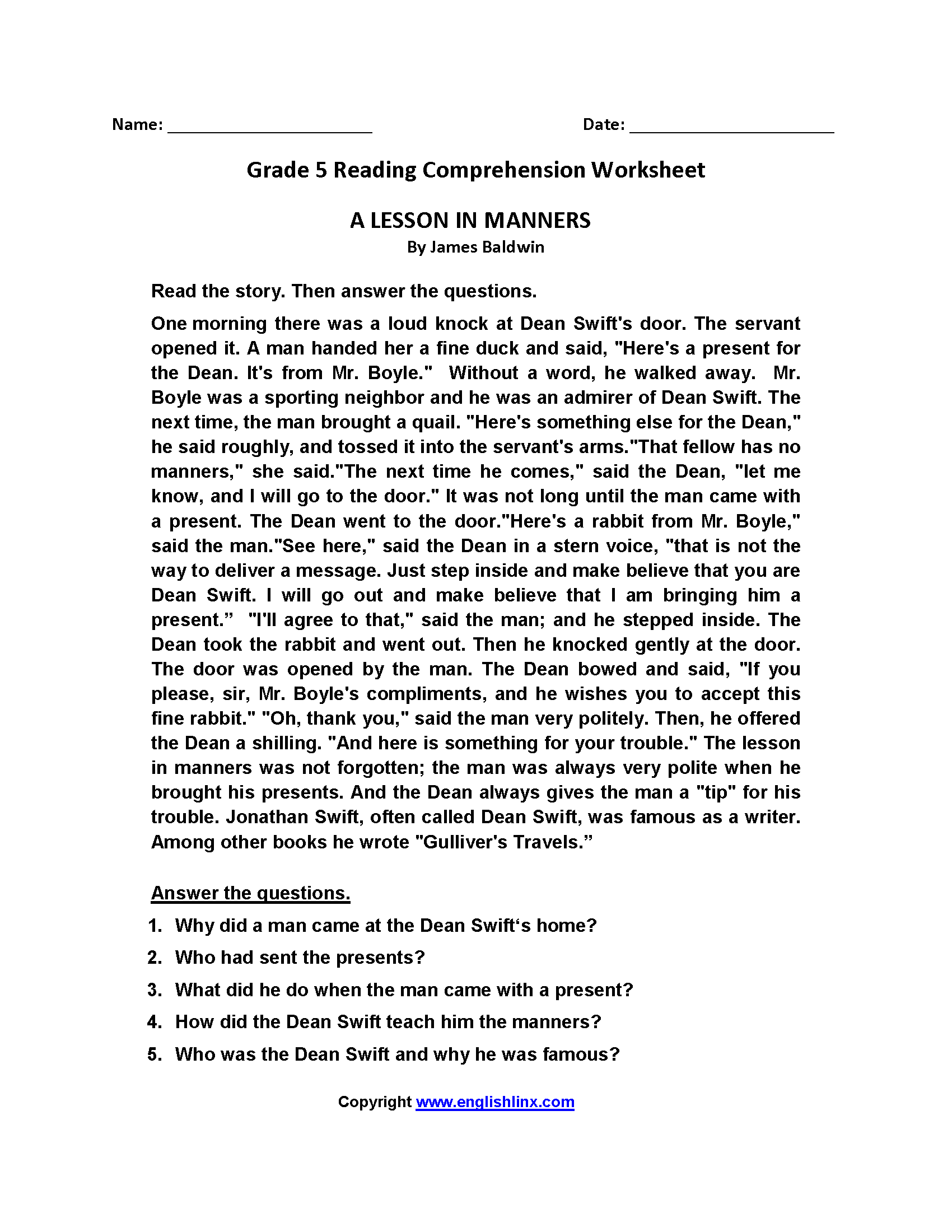 Fifth Grade Art Worksheet