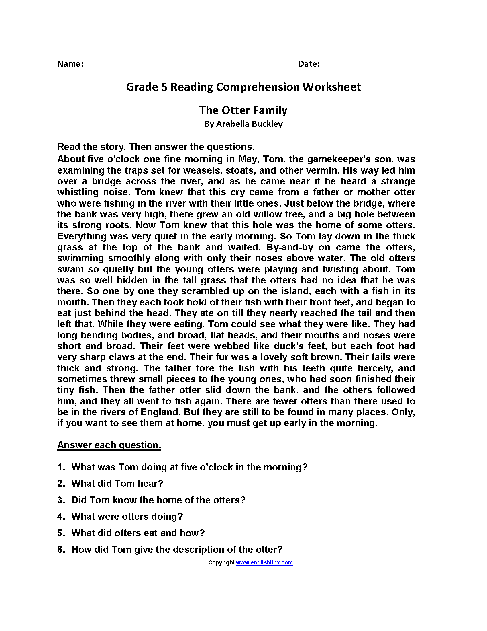 Printables Of Grade 5 Reading