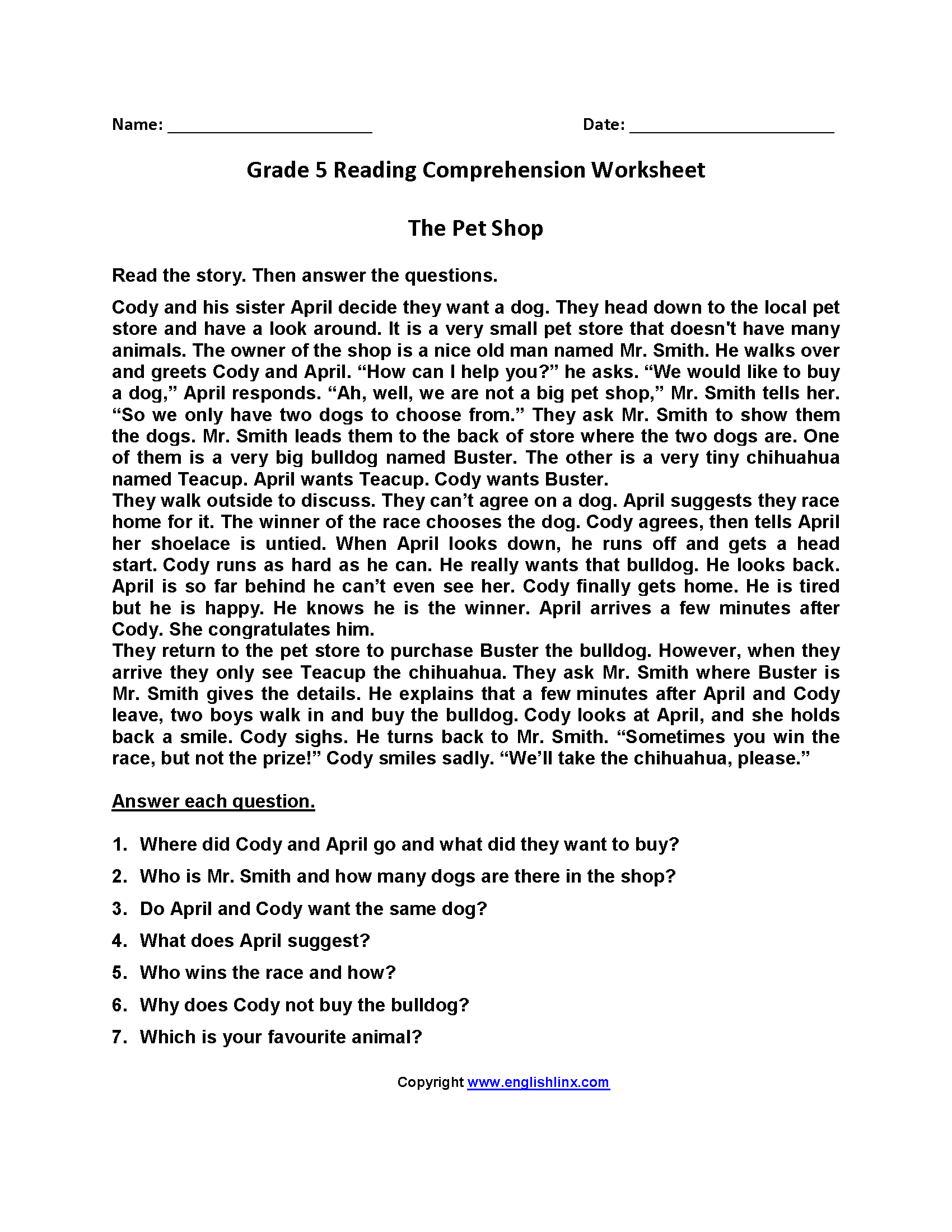 Comprehension Passages For Grade 5 With Questions And Answers
