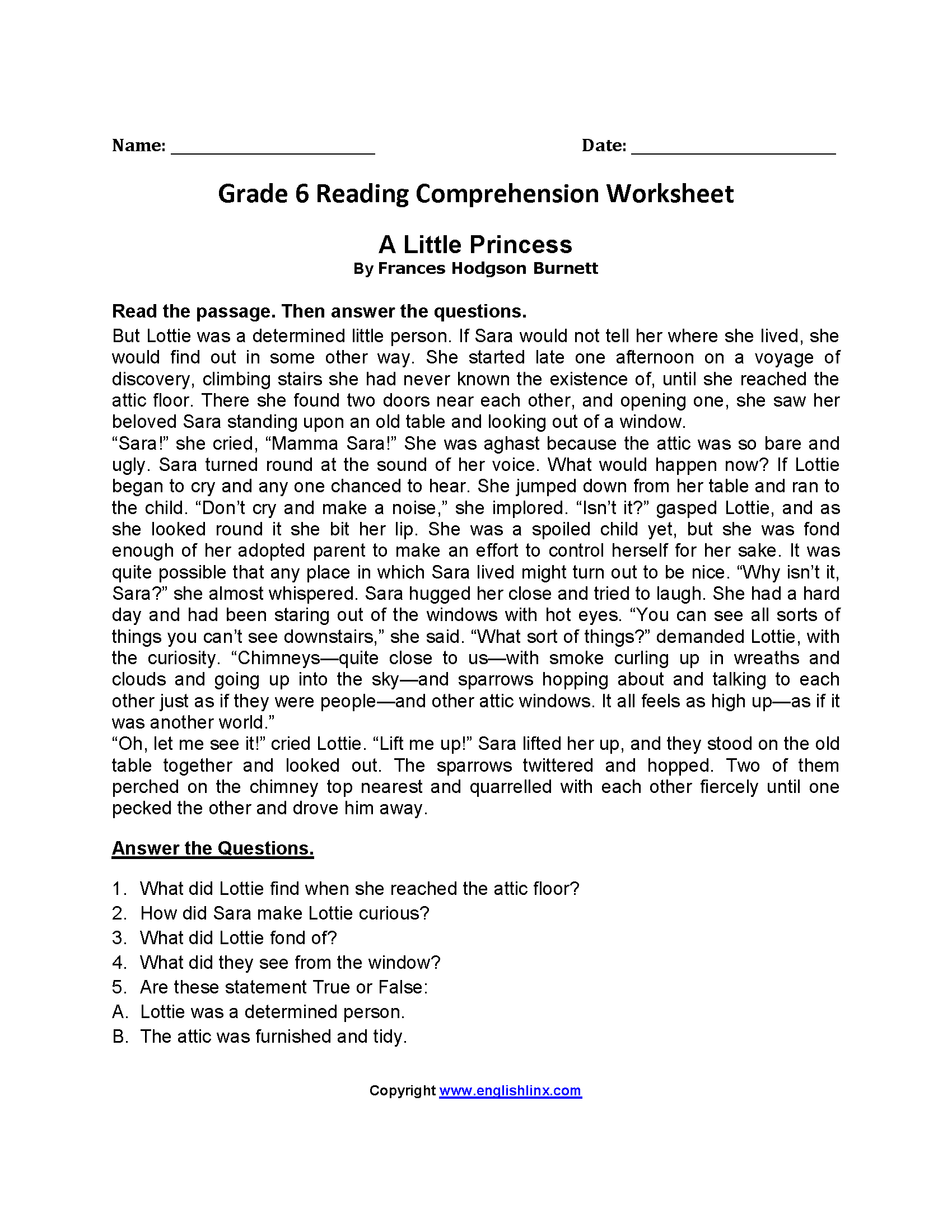Reading Worksheets For 6th Grade Printable