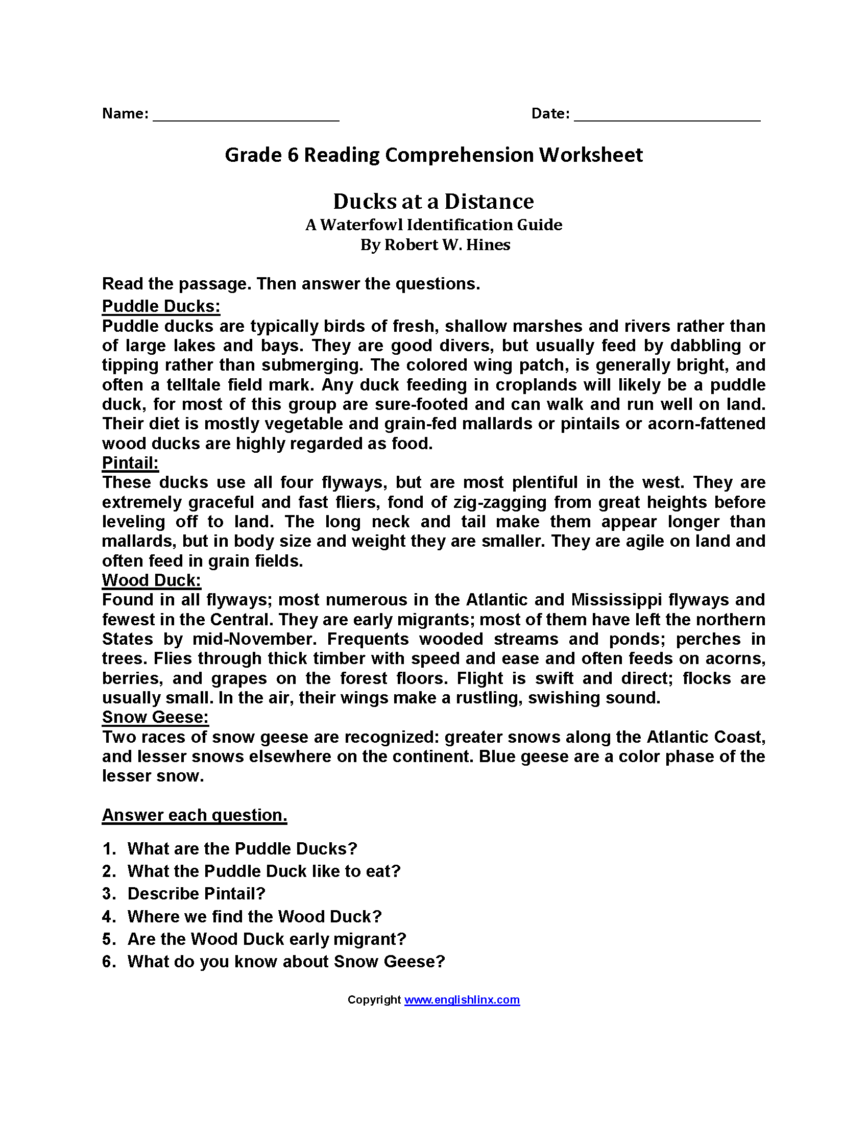 Worksheets Sixth Grade Reading Worksheets Babyhunters
