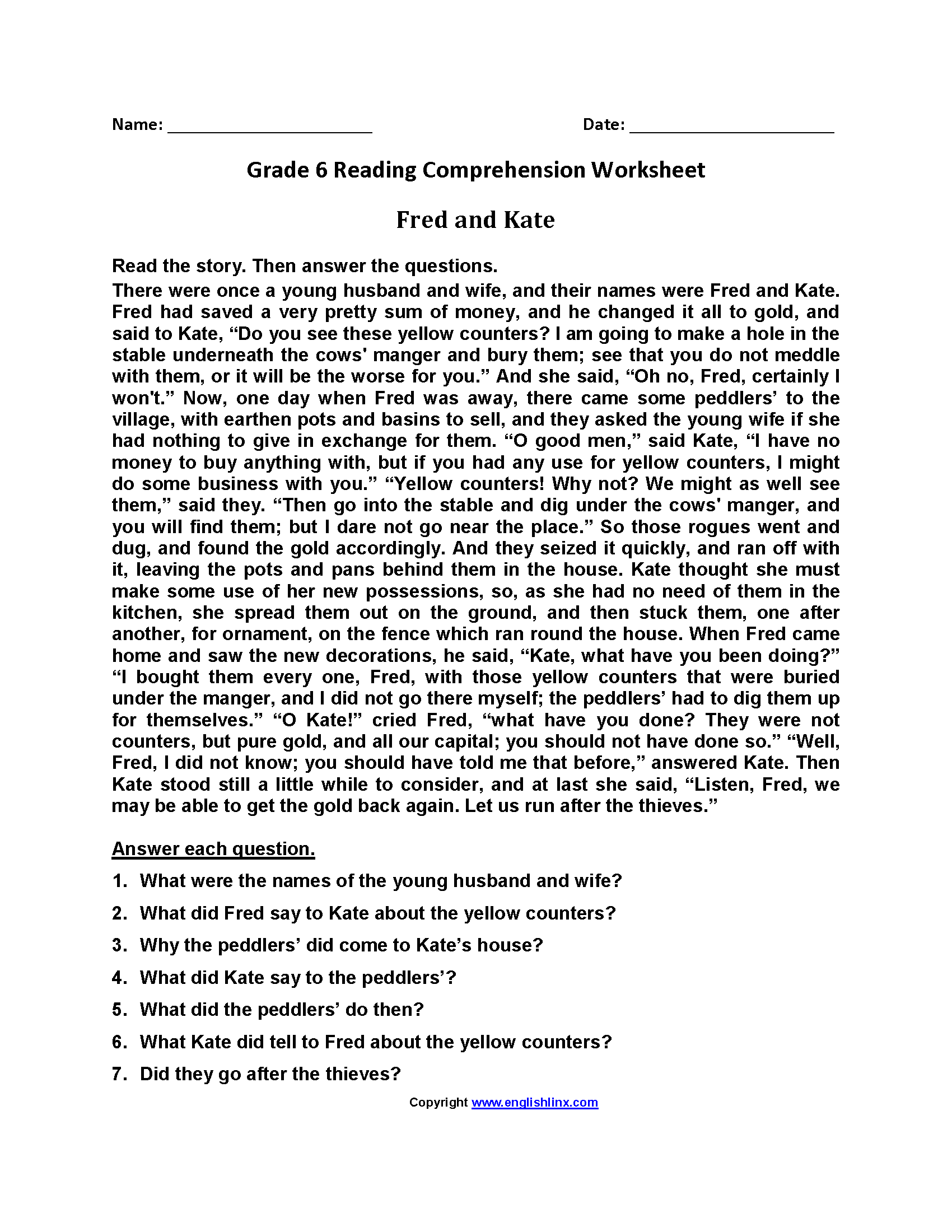 English Worksheet Questions And Answers