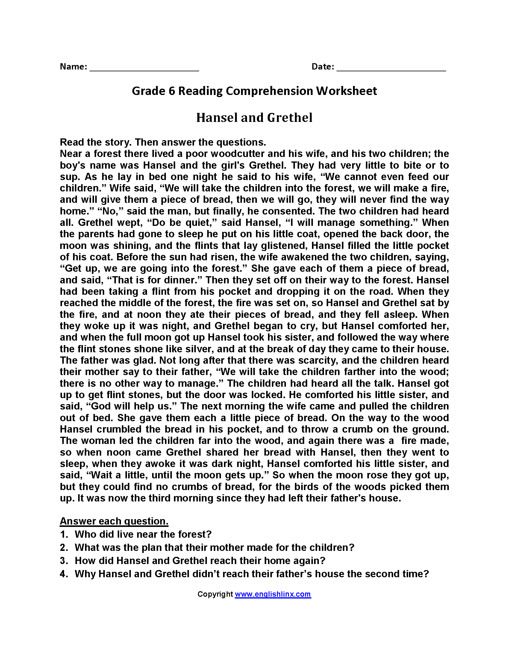 Worksheets Reading Comprehension Worksheets 6th Grade