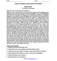 Reading Worksheets   Sixth Grade Reading Worksheets [ 2200 x 1700 Pixel ]