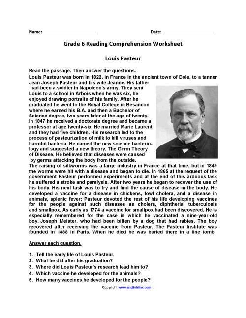 small resolution of Reading Worksheets   Sixth Grade Reading Worksheets