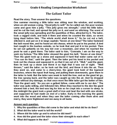 Reading Worksheets   Sixth Grade Reading Worksheets [ 2200 x 1700 Pixel ]