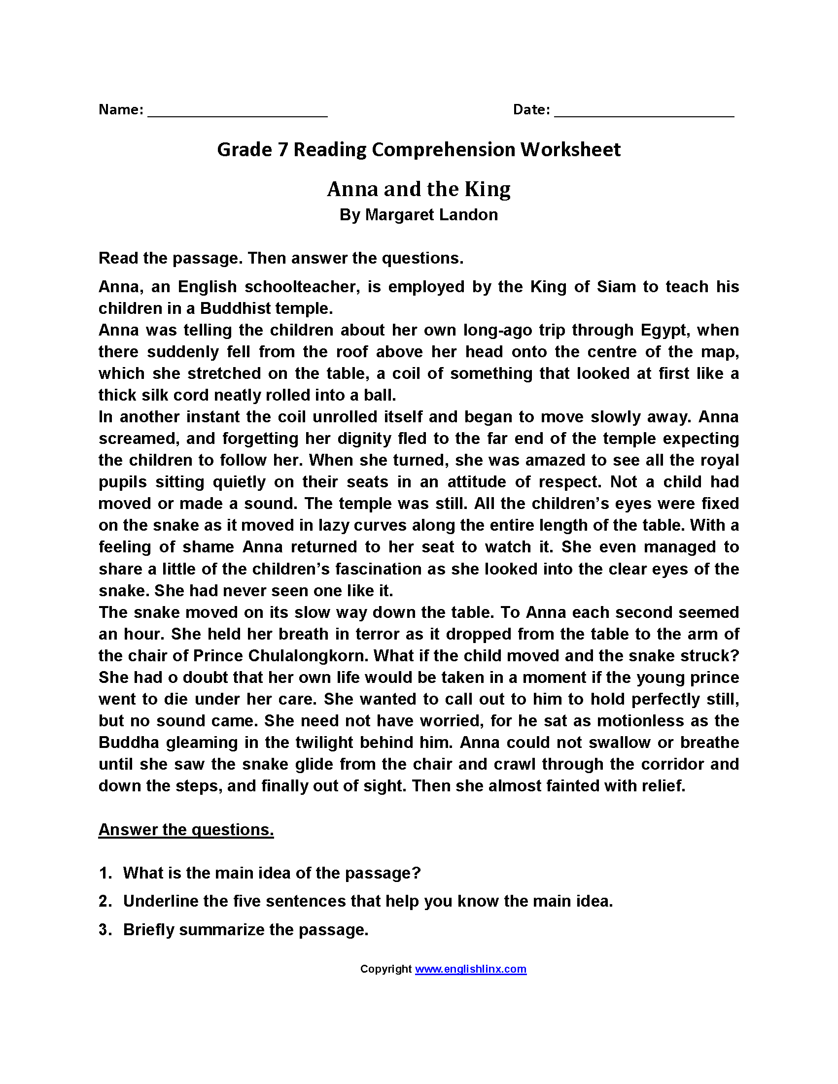 Reading Comprehension Worksheets Grade 7