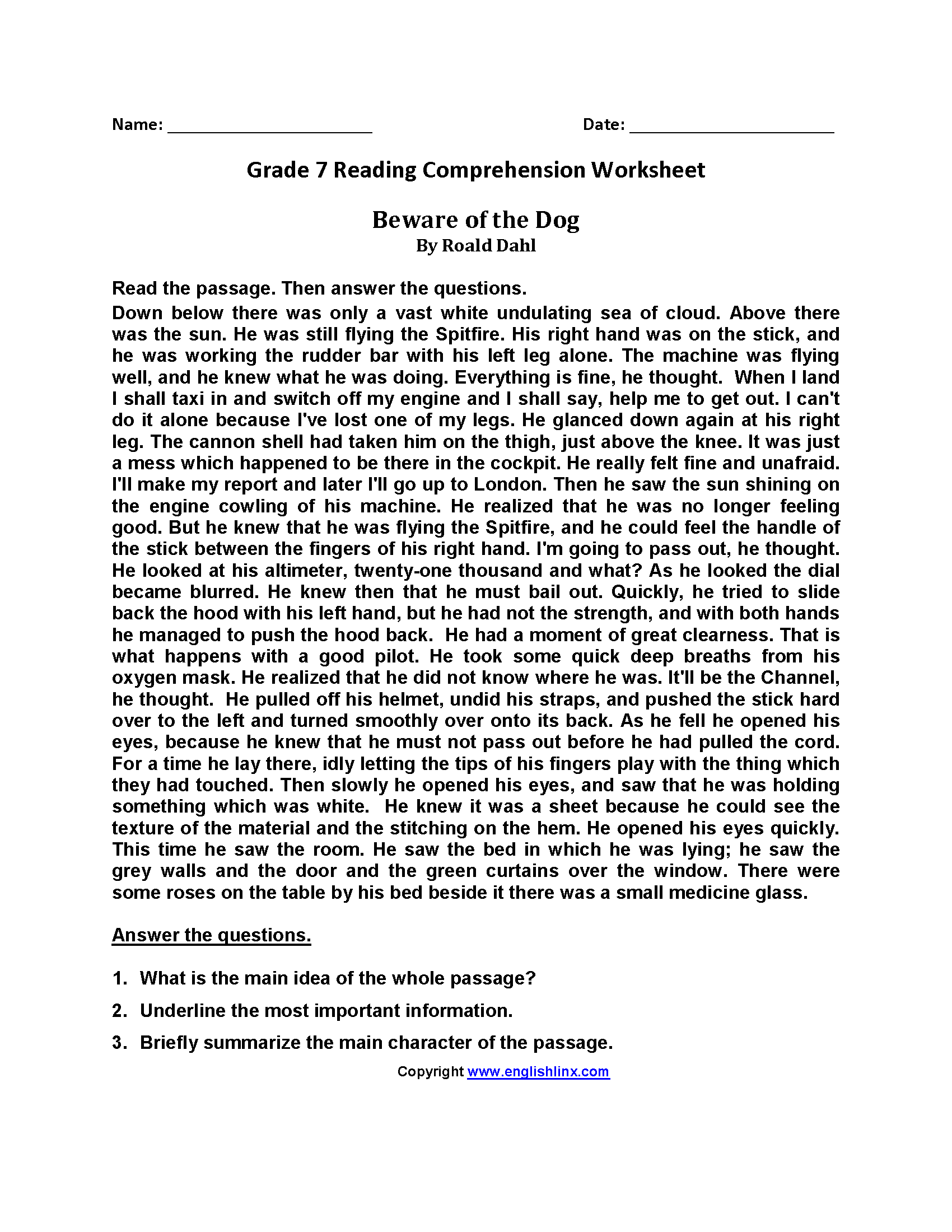Worksheet Free Printable 7th Grade Reading Comprehension