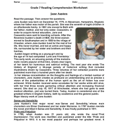 Reading Worksheets   Seventh Grade Reading Worksheets [ 1650 x 1275 Pixel ]