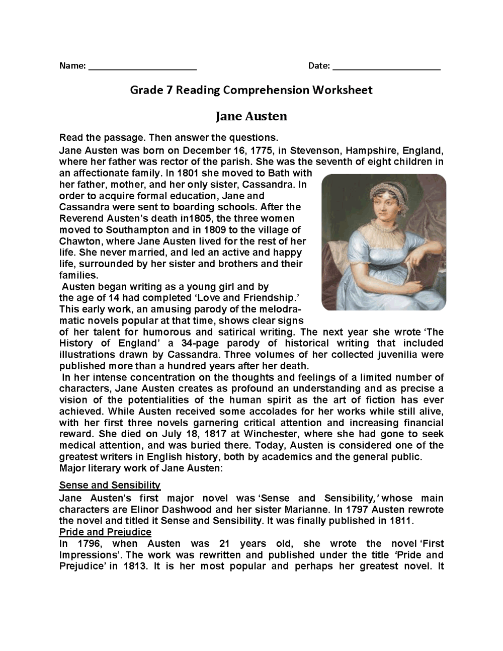 medium resolution of Reading Worksheets   Seventh Grade Reading Worksheets