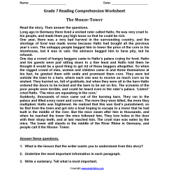 Reading Worksheets   Seventh Grade Reading Worksheets [ 2200 x 1700 Pixel ]