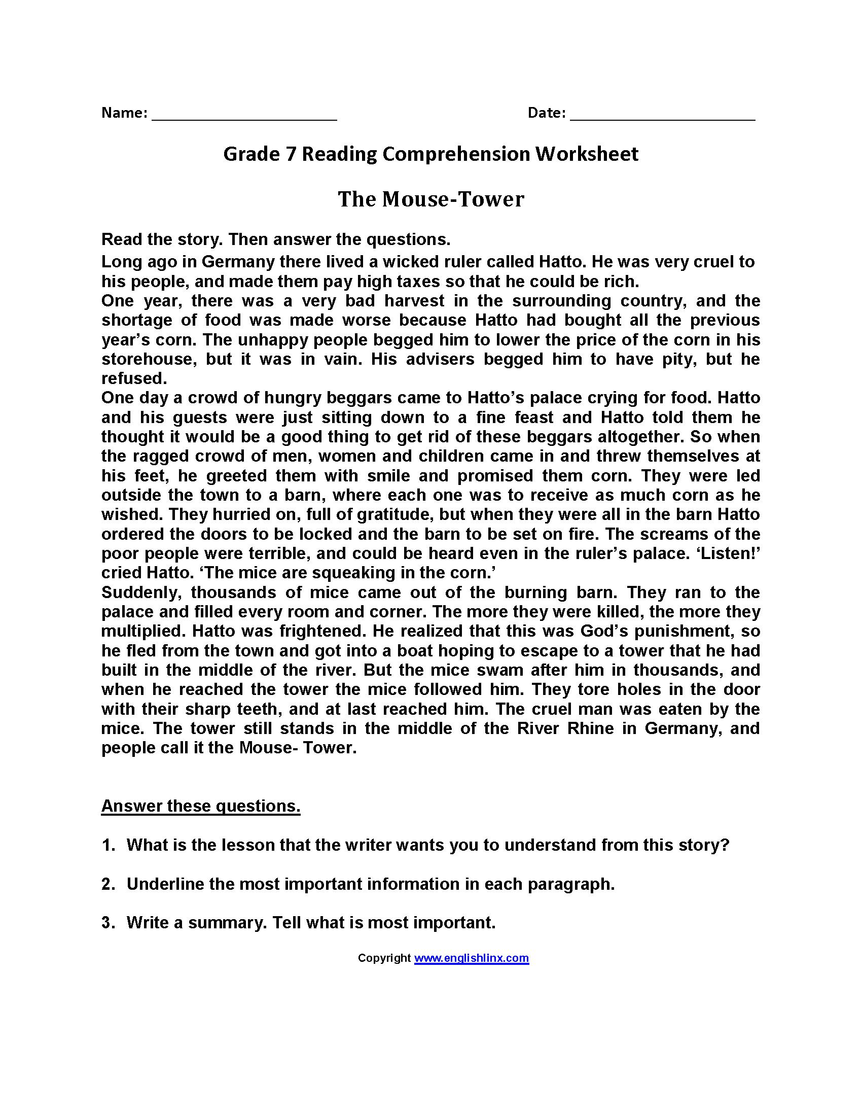 hight resolution of Reading Worksheets   Seventh Grade Reading Worksheets