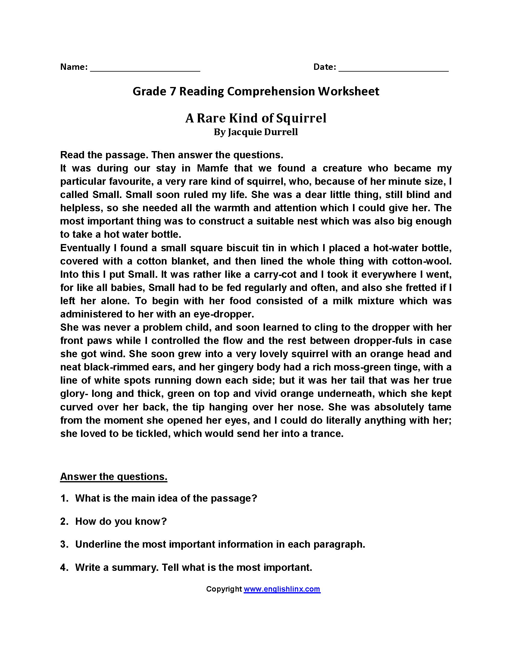 7th Grade Reading Comprehension Worksheets