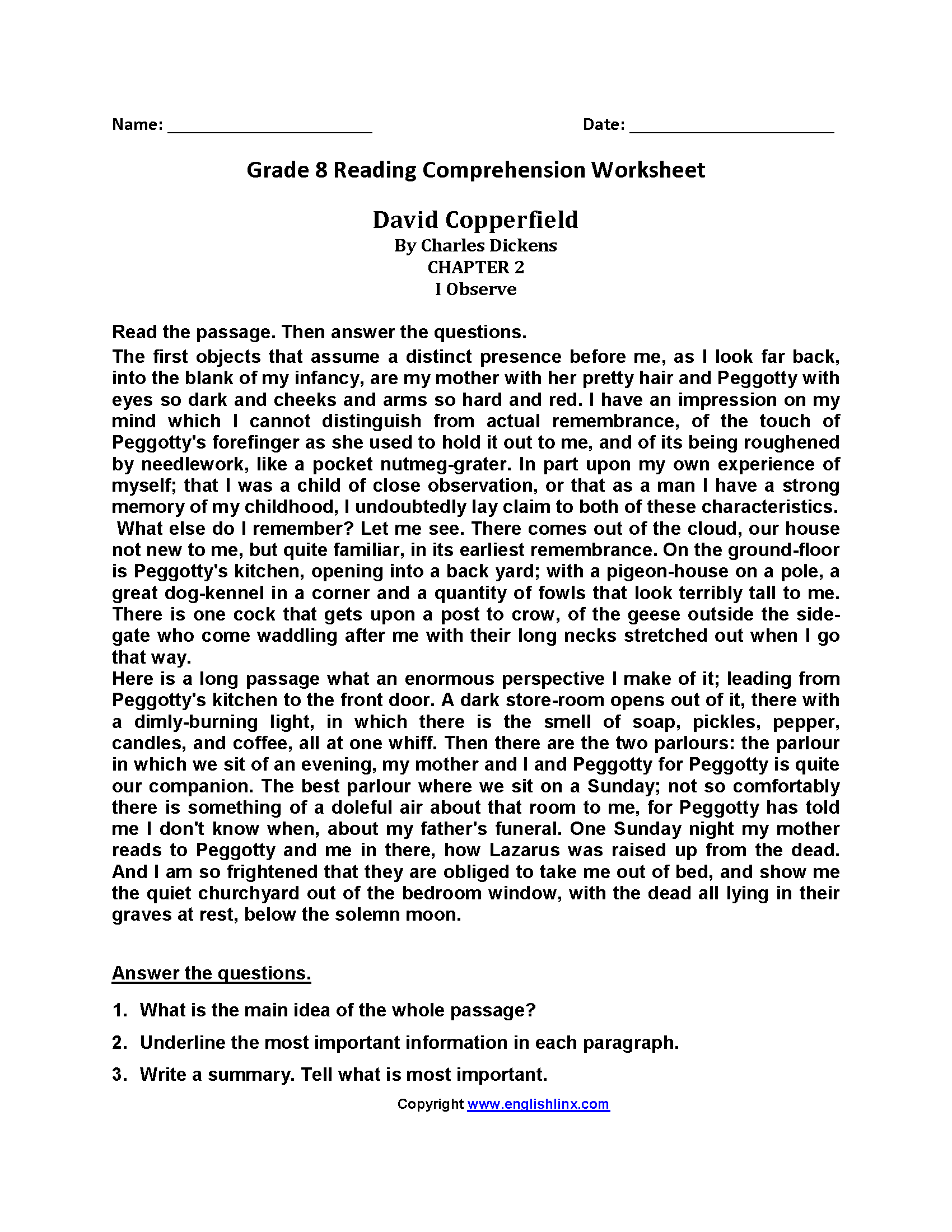Literacy Worksheets For 8th Grade