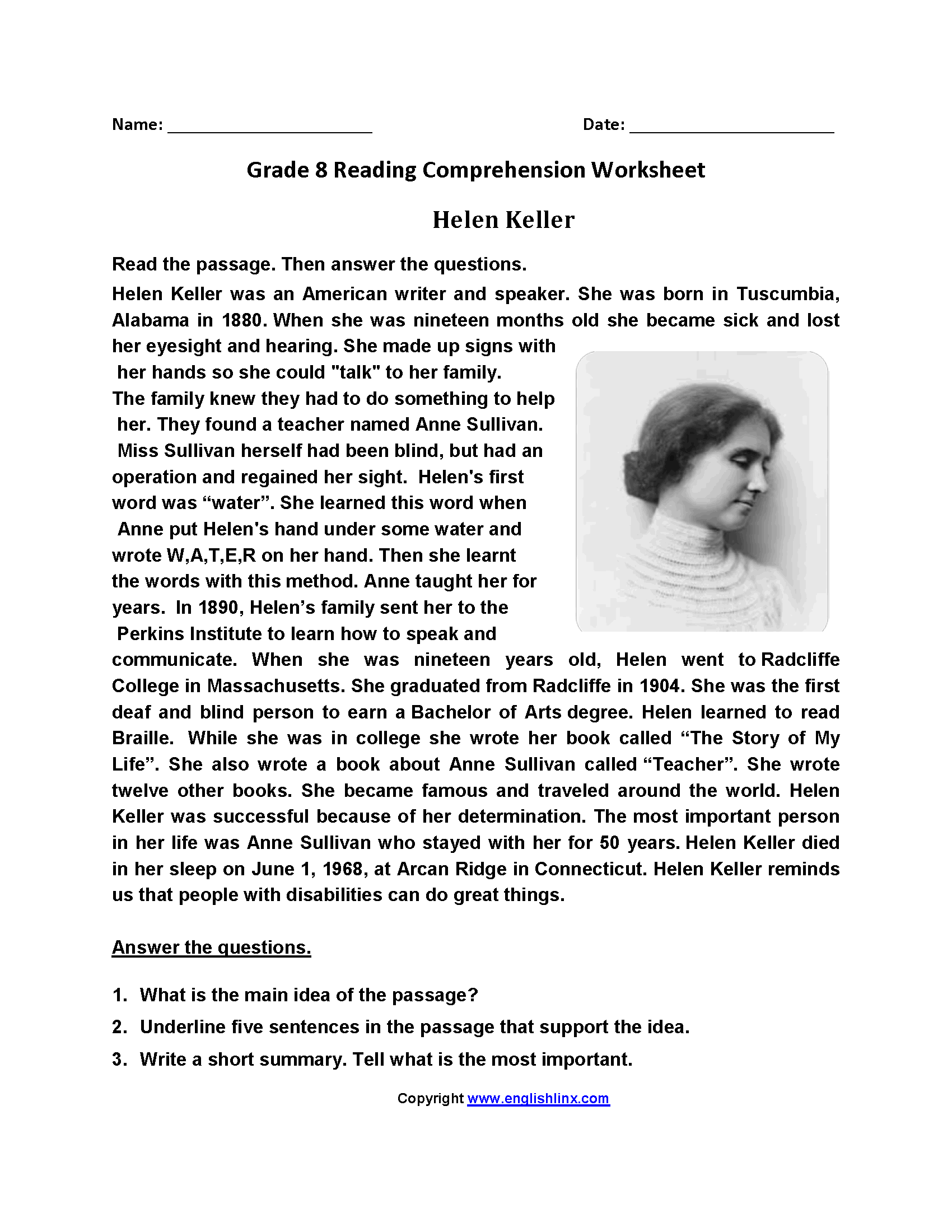 Worksheet Helen Keller Worksheets Grass Fedjp Worksheet