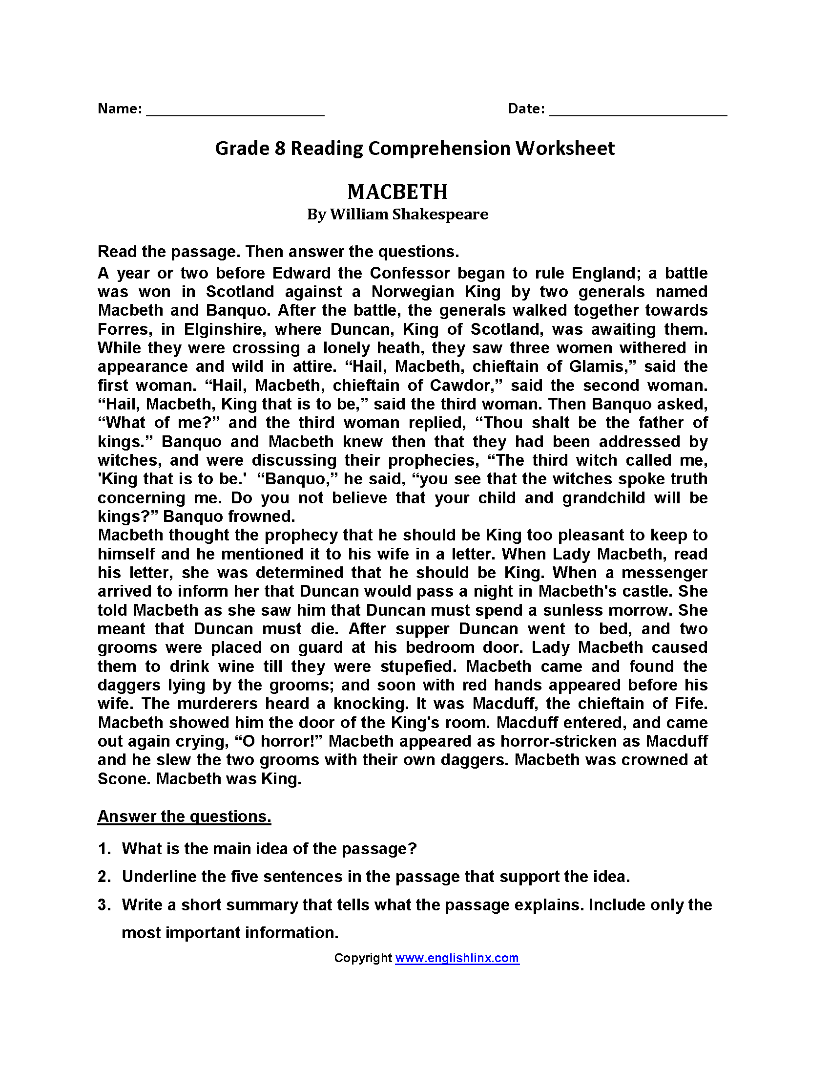 Printable 9th Grade Reading Comprehension Worksheets