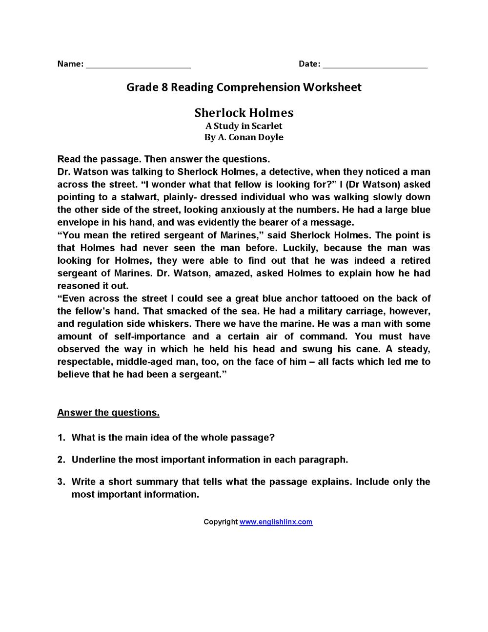 medium resolution of Reading Worksheets   Eighth Grade Reading Worksheets