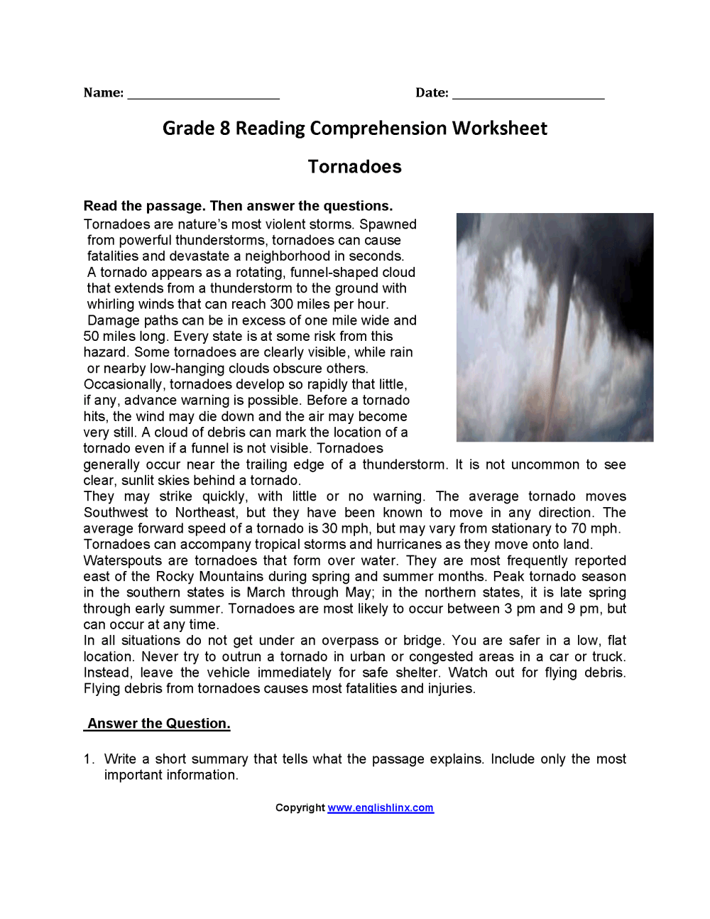 medium resolution of Reading Worksheets   Eighth Grade Reading Worksheets