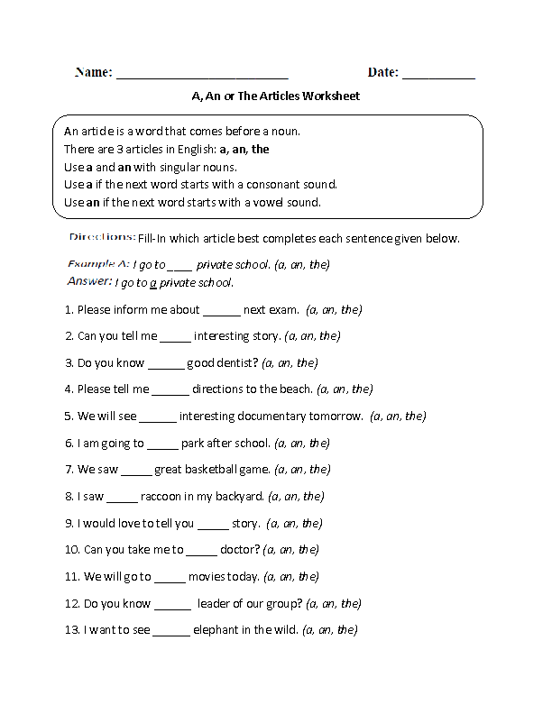 Articles Exercises For Class 2 With Answers - DIY Worksheet