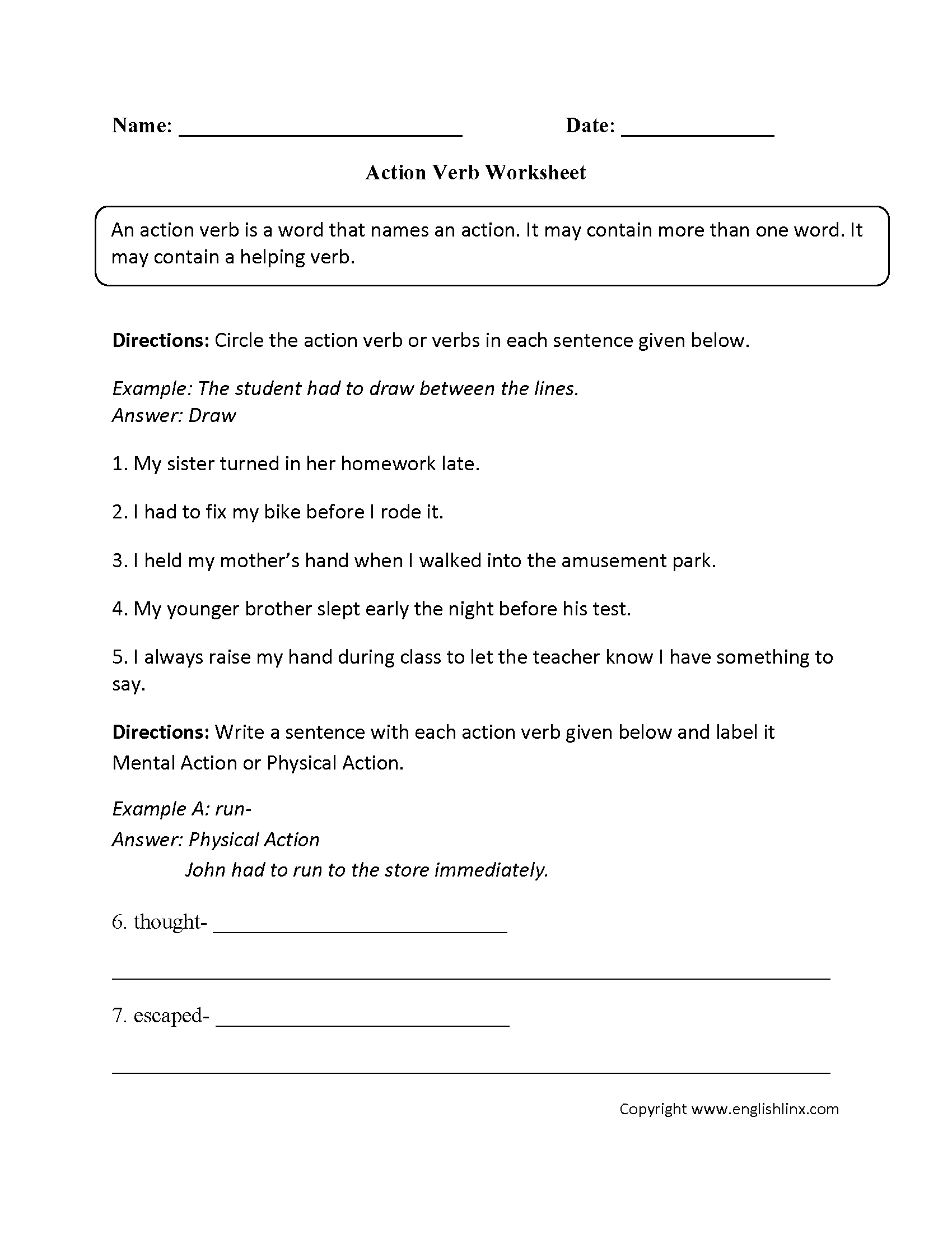 Parts Speech Worksheets