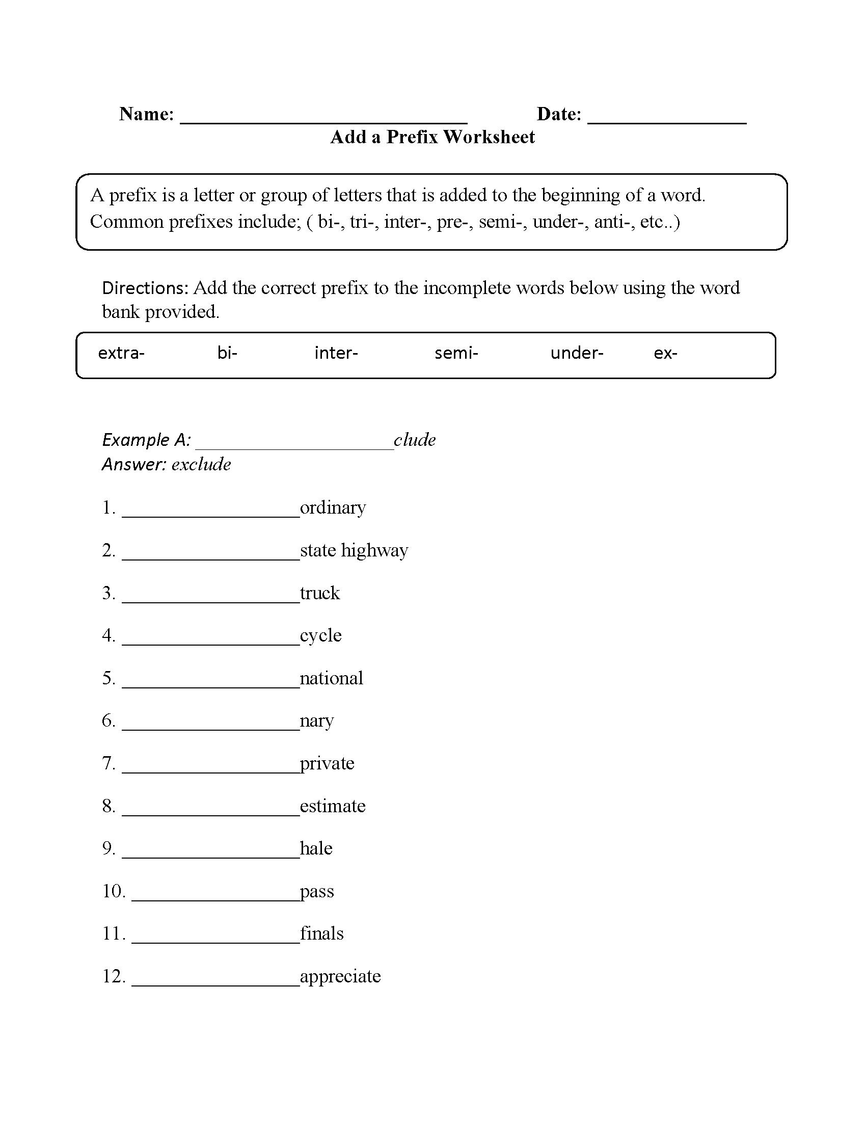 hight resolution of Vocabulary Worksheets   Prefix Worksheets