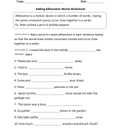 Alliteration Worksheets   Adding Alliteration Words Worksheet [ 1188 x 910 Pixel ]