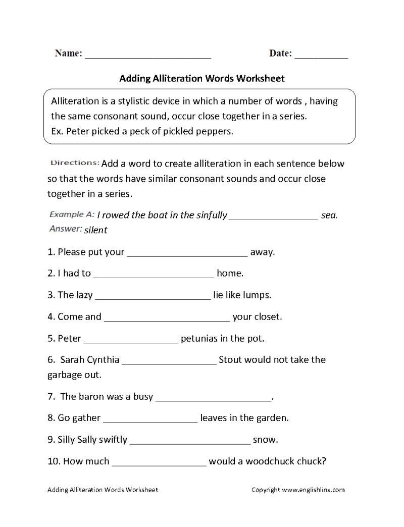 Alliteration In Poems Worksheets Creativepoem