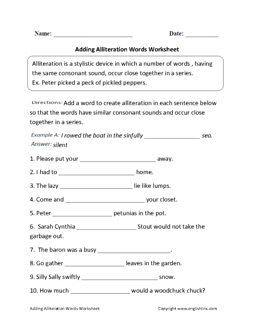 small resolution of Alliteration Worksheets   Adding Alliteration Words Worksheet