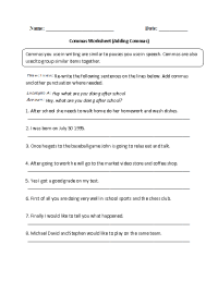Englishlinx.com | Commas Worksheets