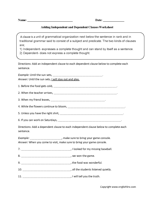 small resolution of Englishlinx.com   Clauses Worksheets