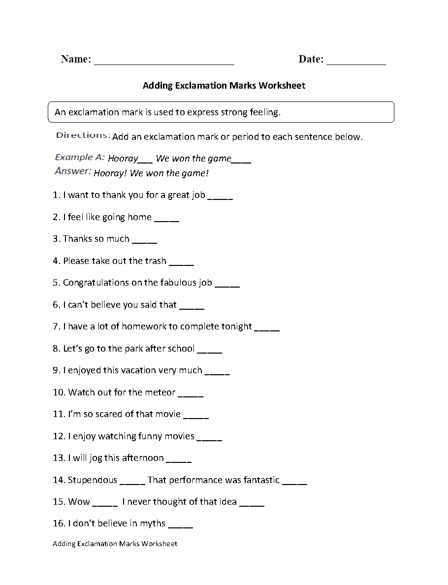 hight resolution of Englishlinx.com   Exclamation Marks Worksheets
