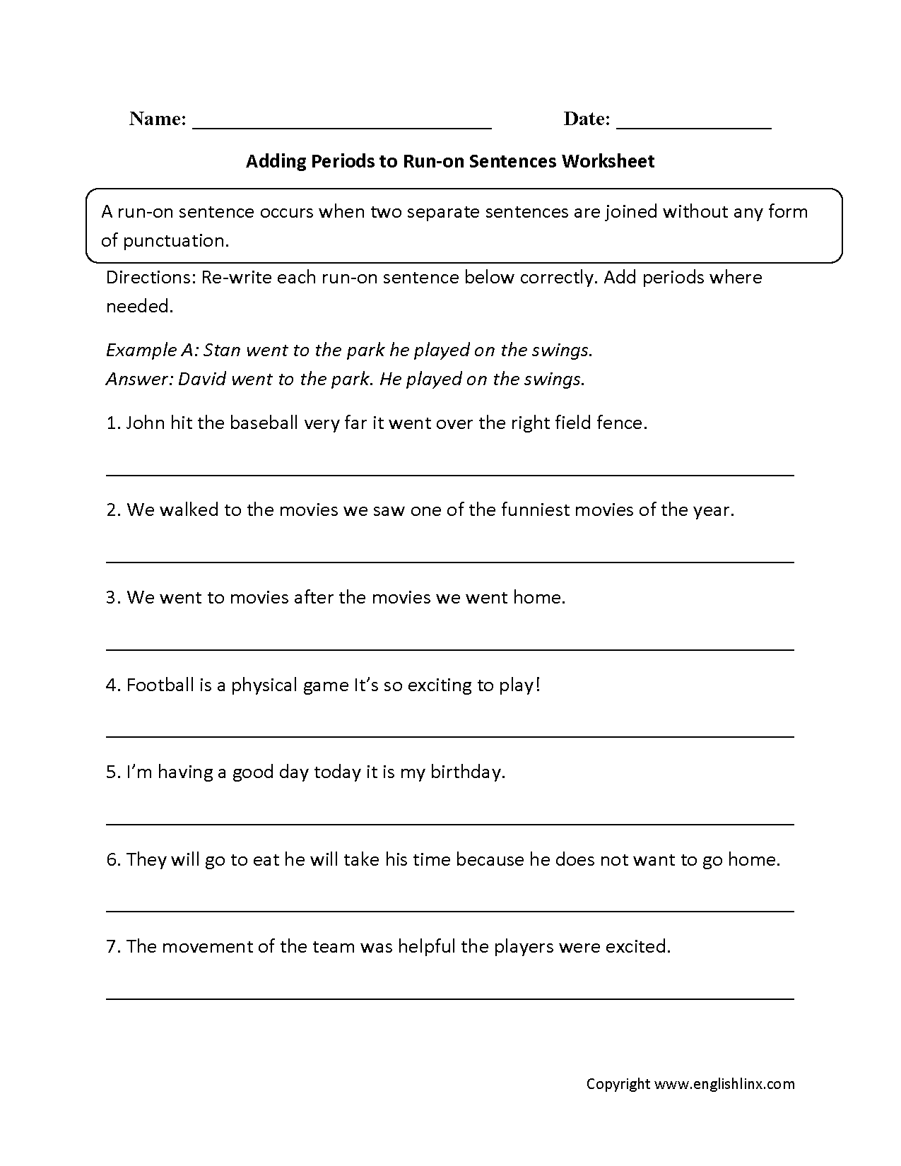 hight resolution of Sentence Fragments And Run Ons Worksheet - Promotiontablecovers