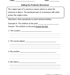 Subject and Predicate Worksheets   Adding the Predicate Worksheet [ 1331 x 1003 Pixel ]