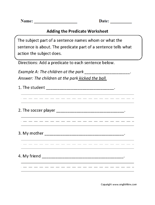 small resolution of Subject and Predicate Worksheets   Adding the Predicate Worksheet