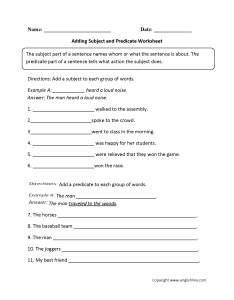 Adding subject and predicateworksheet also parts of  sentence worksheets predicate rh englishlinx