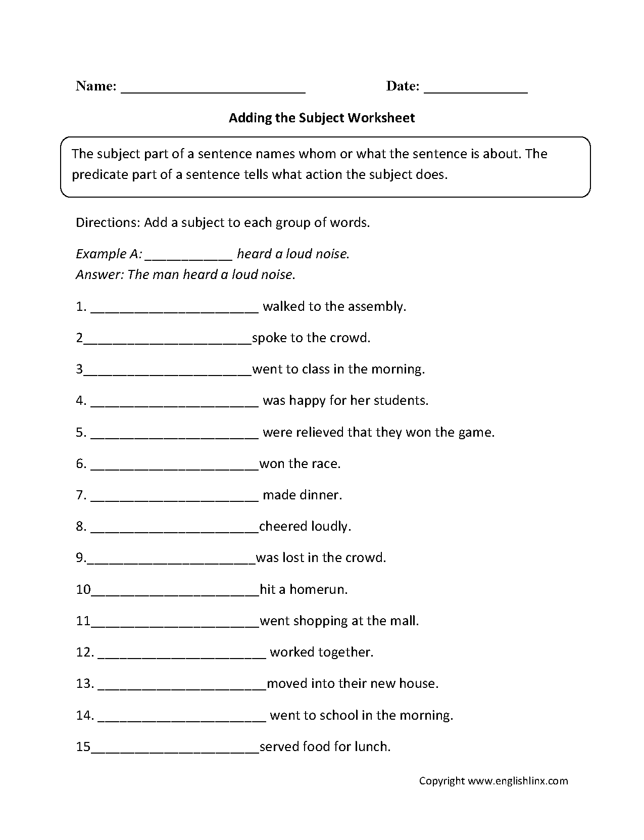 9th Grade English Worksheets