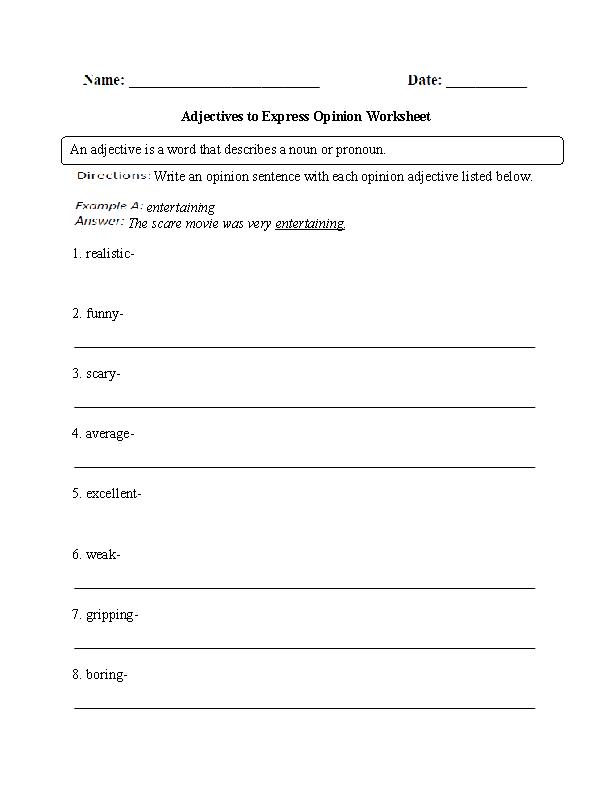 Regular Adjectives Worksheets