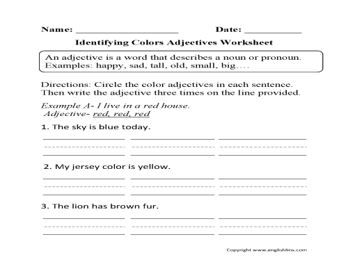 small resolution of Regular Adjectives Worksheets   Identifying Colors Adjectives Worksheet