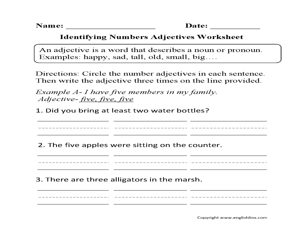 medium resolution of Regular Adjectives Worksheets   Identifying Numbers Adjectives Worksheet