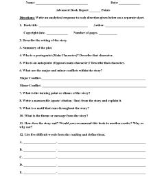 Book Report Worksheets   Advanced Book Report Worksheets [ 2200 x 1700 Pixel ]