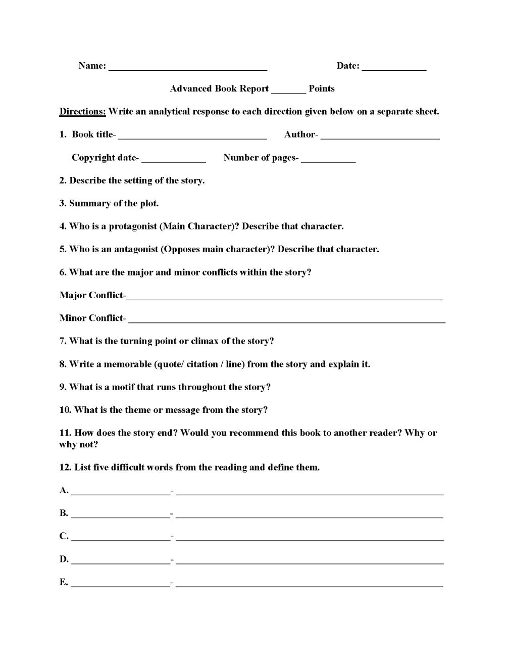medium resolution of Book Report Worksheets   Advanced Book Report Worksheets