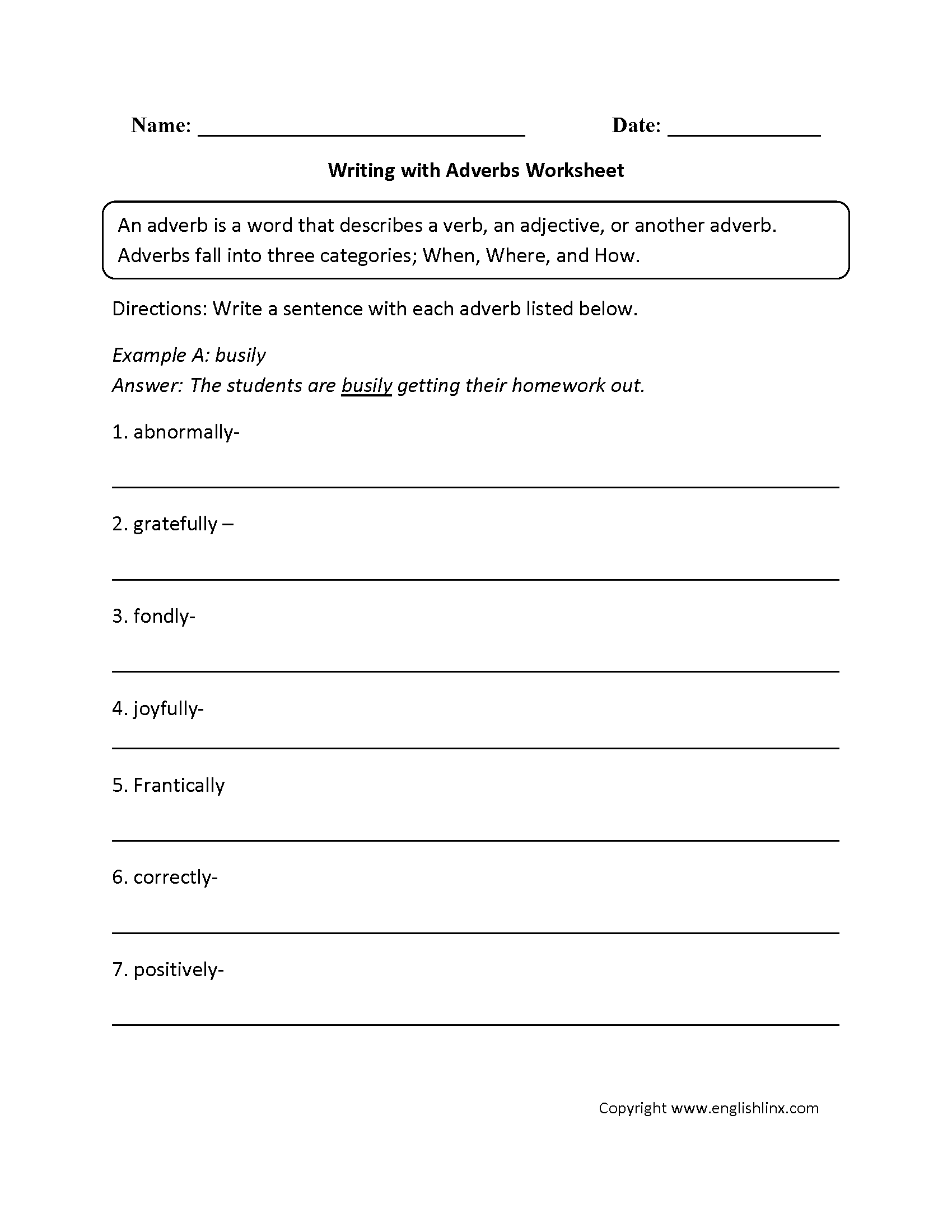 hight resolution of Regular Adverbs Worksheets   Writing with Adverbs Worksheet