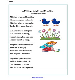 Poetry Worksheets   All Things Bright and Beautiful Poetry Worksheets [ 2200 x 1700 Pixel ]