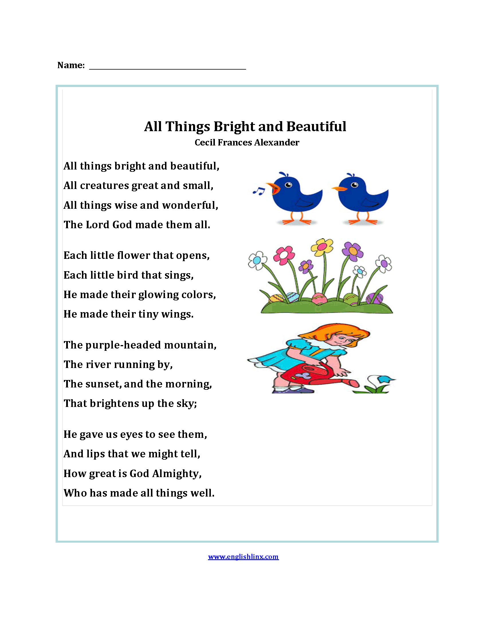 hight resolution of Poetry Worksheets   All Things Bright and Beautiful Poetry Worksheets